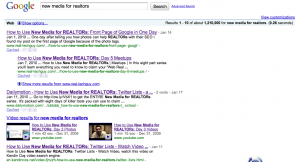 """Google search for """"New Media for REALTORs"""" as of 6:42 am 1-27-09"""
